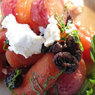Honey Glazed Radishes and Carrots with Raisins, Mint, Ricotta Salata