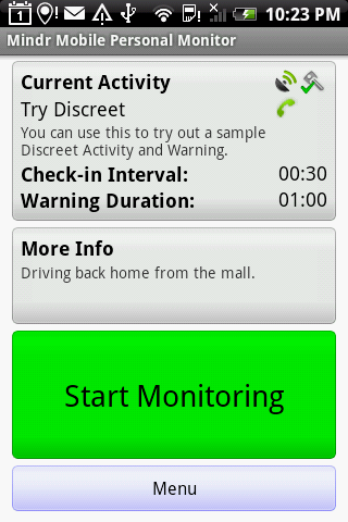 Mindr Mobile Personal Monitor - screenshot