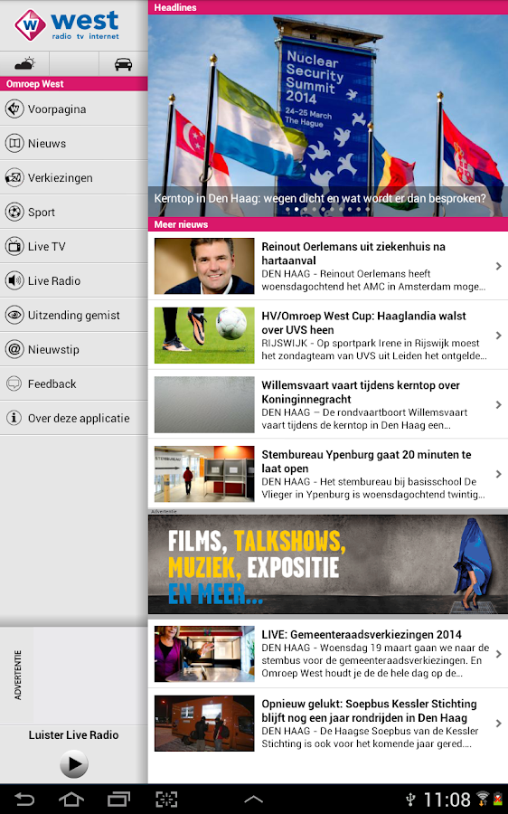 Omroep West Tablet - screenshot