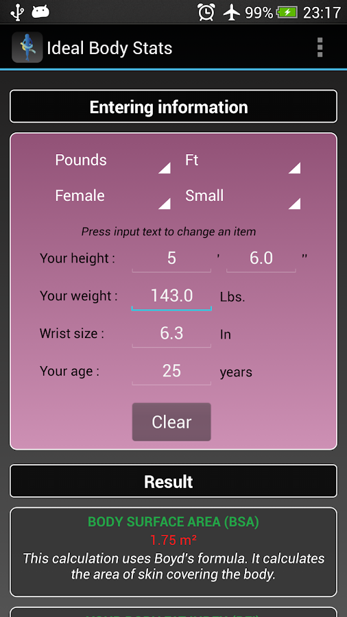 Ideal Weight BMI Adult & Child - screenshot