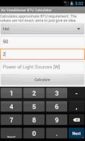 Screenshot of Air Conditioner BTU Calculator