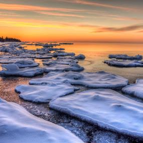 Iceberg Sunrise by David Johnson - Landscapes Sunsets & Sunrises
