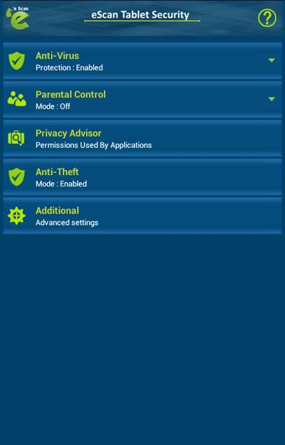 eScan Tablet Security- screenshot