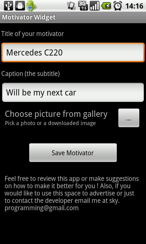 Motivator Widget- screenshot