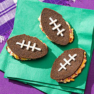 Pimiento Cheese Football Sandwiches.