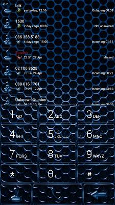 Dialer CarbonMetalBlue Theme - screenshot