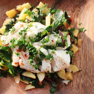 Steamed Fish with Chard and Potato Hash.