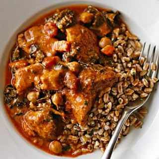 Pork Braised with Sautéed Kale, Chickpeas and Tomatoes.