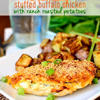 Crunchy Stuffed Buffalo Chicken Breasts with Ranch Roasted Potatoes.