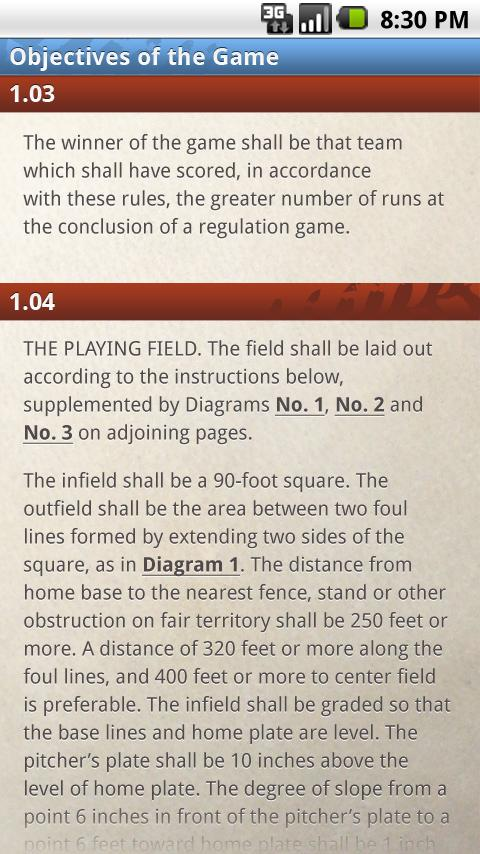 Official Rules of Baseball - screenshot