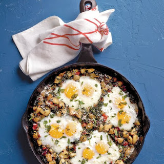 Potato Hash with Spinach and Eggs.