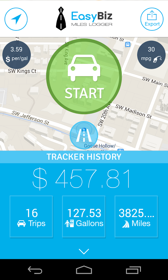 EasyBiz Mileage Tracker - screenshot