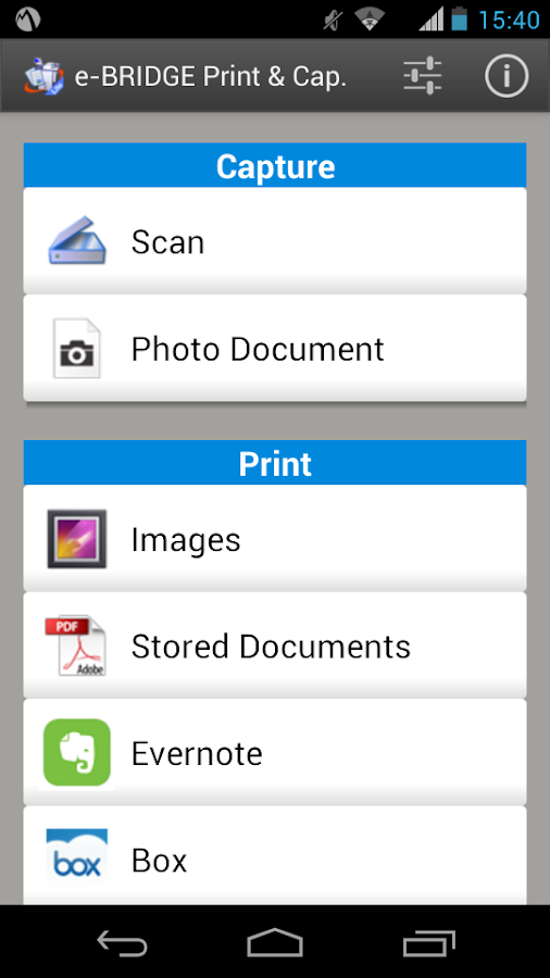 e-BRIDGE Print & Capture Lite- screenshot
