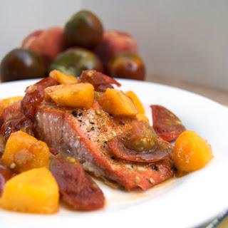 Salmon w/ Peach & Tomato Compote.