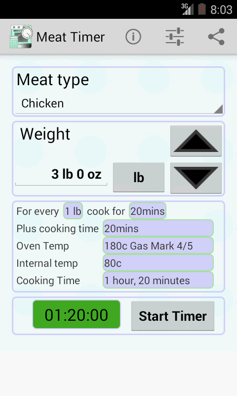 Meat cooking timer android apps on google play for 3 8 kg turkey cooking time