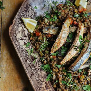 Stewed Lentils with Mackerel Fillets.