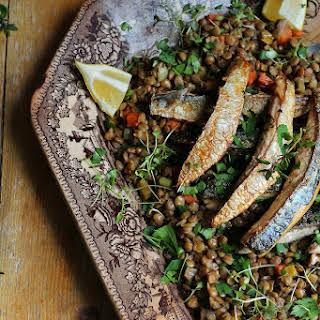 Stewed Lentils with Mackerel Fillets.