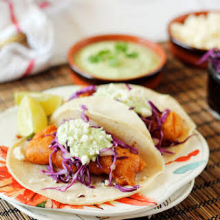 Beer Battered Fish Tacos with Cilantro Crema.