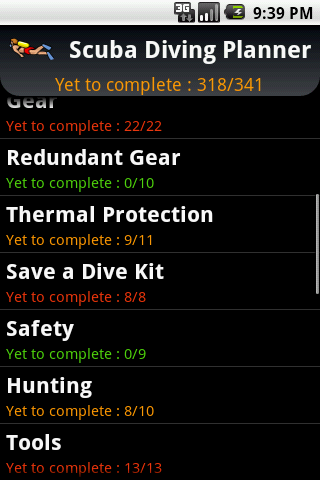 Scuba Diving Planner - screenshot
