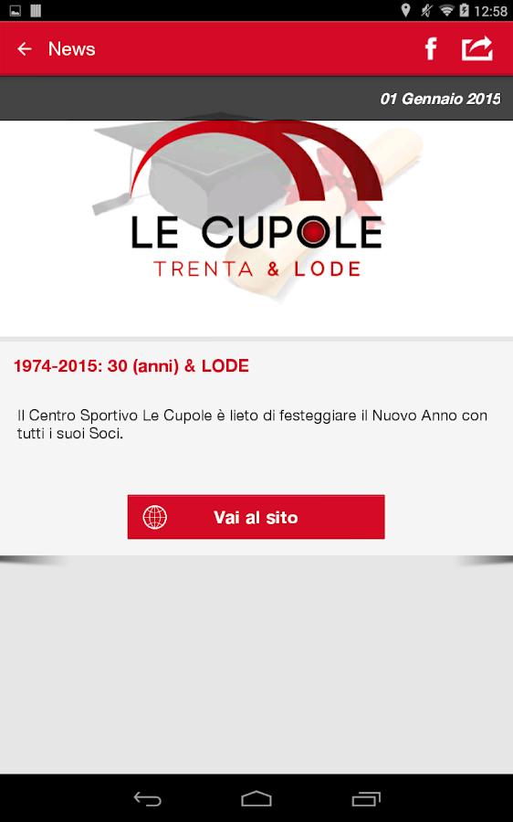 Le cupole centro sportivo android apps on google play for Centro sportivo le piscine guastalla