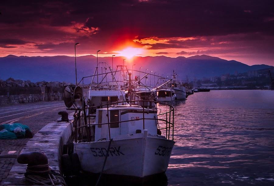 Koca by Sinisa Mrakovcic - Transportation Boats ( rijeka, lukobran, sunset, harbour, croatia, night, boat,  )