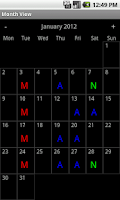 Screenshot of Shift Calendar