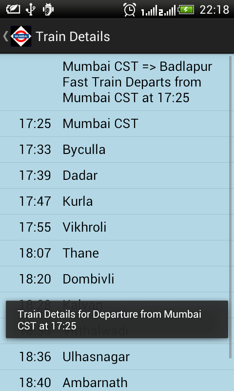 Mumbai Local Train Timetable - screenshot