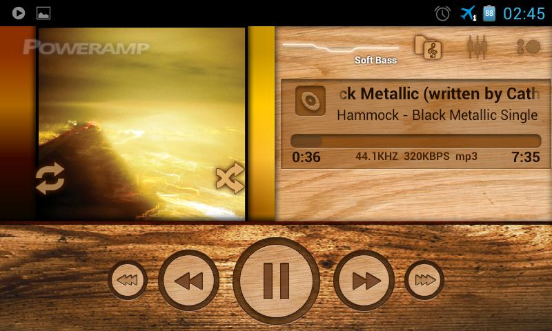 PowerAmp wood skin - screenshot