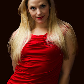 Woman in the Red Dress by Christopher Mazzoli - People Portraits of Women ( portait, blonde, red, woman, dress, , best female portraiture )