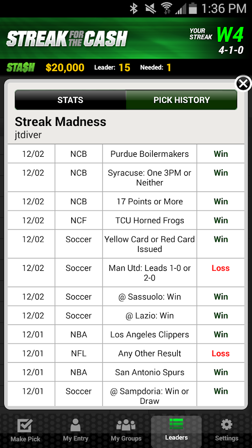ESPN Streak For The Cash- screenshot