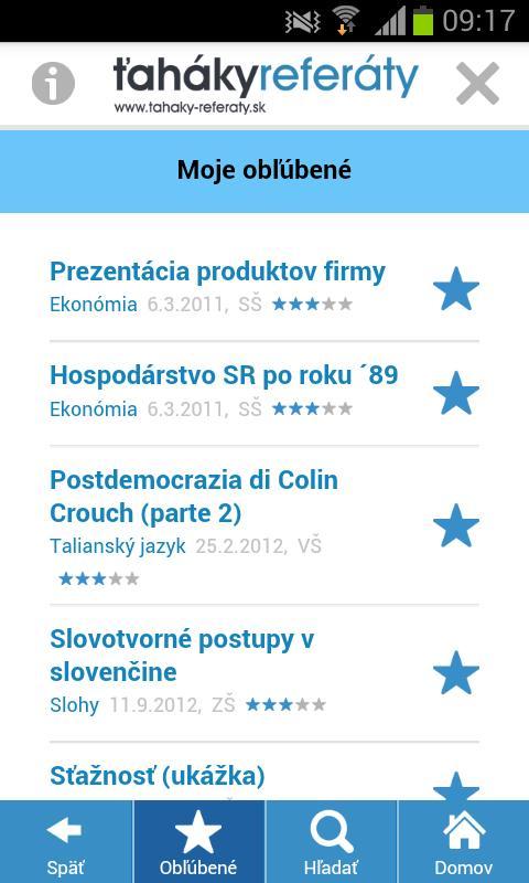 Ťaháky-referáty - screenshot