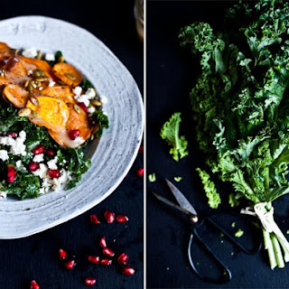 Sweet Potatoes and Kale Salad with Pomegrante Seeds.