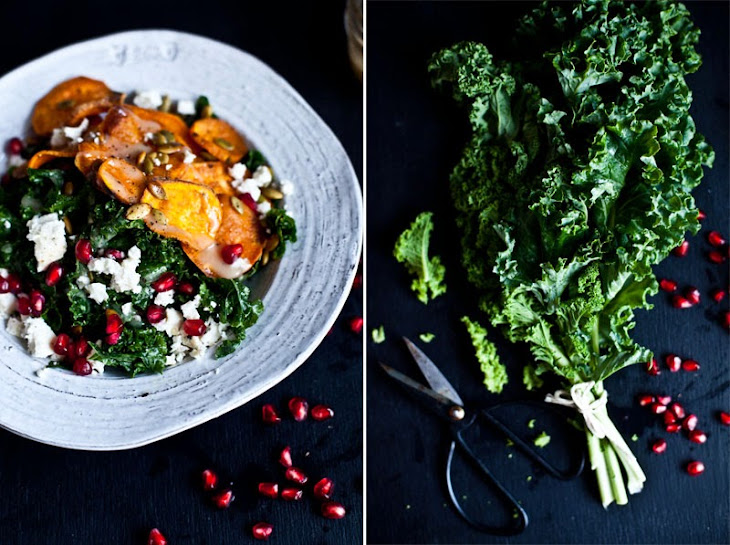 Sweet Potatoes and Kale Salad with Pomegrante Seeds Recipe