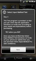 Screenshot of Select Input Method Test