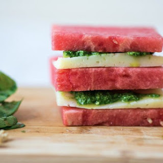 Watermelon And Manchego Stack With Arugula Pesto.