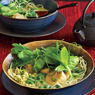 Coconut Noodles with Scallops and Pea Tendrils.