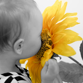 the sweet smell of summer by Star Image - Babies & Children Child Portraits ( child, girl, color, black and white, sunflower,  )