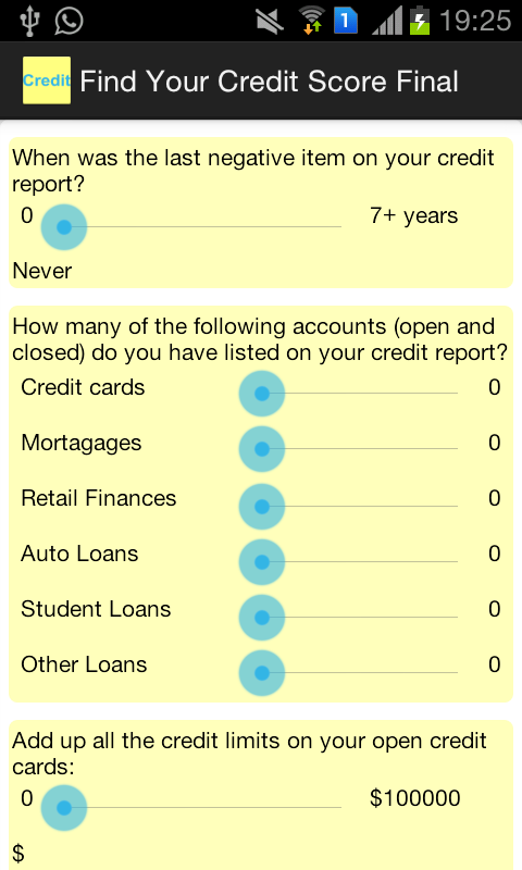Find Credit Score Calculator- screenshot