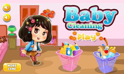 寶寶清洗遊戲的女孩