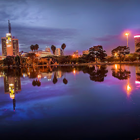 Reflections in Nairobi by Muema Nzomo - City,  Street & Park  City Parks ( park, kenya, nairobi, capital, pond, city )