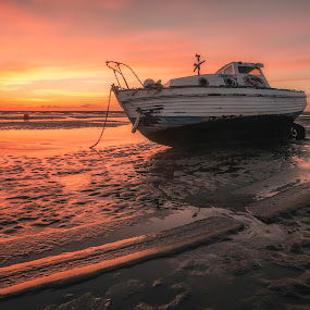 Boats in the Setting Sun by Raymond Mcbride - Landscapes Sunsets & Sunrises ( meol's, sunset, boats )