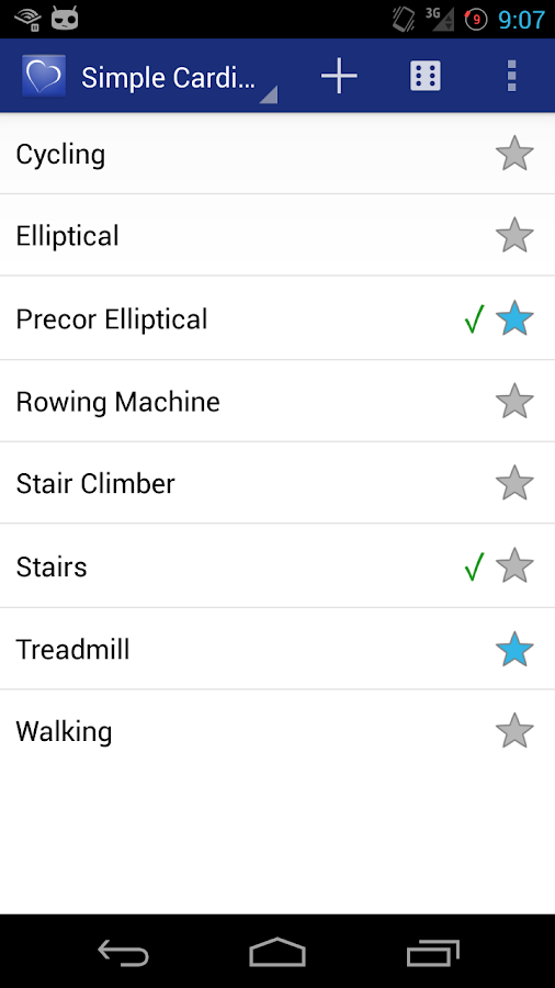 Simple Cardio Log - screenshot