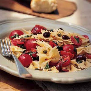 Bow Tie Pasta with Cherry Tomatoes, Capers, and Basil.