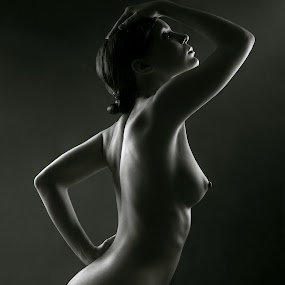 Impulse by Maxim Malevich - Nudes & Boudoir Artistic Nude ( erotic, nu, backlit, girl, nude, black and white, woman, nudes, profile )