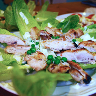 Greek Yoghurt Caesar Marinade Dressing with Grilled Chicken and Peas Recipe
