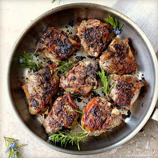 Porcini and Rosemary Crusted Lamb Loin Chops.
