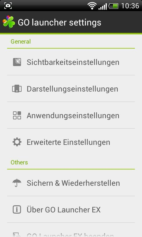 GO LauncherEX German language - screenshot