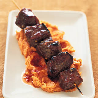 Tamarind-Honey Lamb Kebabs on Mashed Yams.