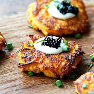 Sweet Potato Pancakes with Caviar and Crème Fraîche.