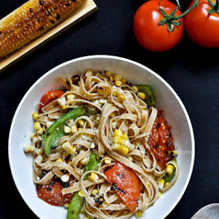 Grilled Corn and Tomato Fettuccine